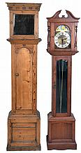 Tall clock, 8 day, time, strike and chime with modern German movement in walnut case, circa late 20th century including a tall clock pine case (only) circa 18th century
