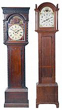 Tall Clocks- 4 (Four) and a tall clock case only: (1) English in a wide Yorkshire, short door case, the hood with mask for a 14