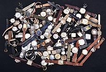 Large lot of wristwatches, makers including Longines, Waltham, Benrus, Bulova, Seiko, Bucherer, Mido, Wittnauer, and others