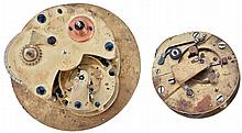 Chronometer movements- 2 (Two), the first an eight day with spotted plates, reverse fusee, Z balance, and helical hairspring, the other a two day, also with Z balance and helical hairspring, together with a chronometer winding key, and a set of gold