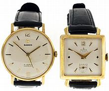Wrist watches- 2 (Two): The first a Rado, 21 jewel nickel movement, Arabic numeral and baton marker metal dial, 14 karat yellow gold case, the other marked