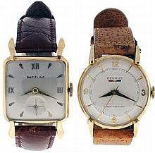 Wrist watches- 2 (Two): The first a Breitling, 17 jewel nickel movement, Roman numeral and arrow marker metal dial, 18 karat yellow gold cushion case, the other a Benrus, 17 jewel nickel movement, Arabic numeral and arrow marker dial, 14 karat yellow
