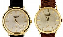 Wrist watches- 2 (Two): Both Longines, each with 17 jewel nickel movement, baton marker metal dial, and 14 karat yellow gold case, 59.8g TW