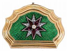 Rossel, Bautte & Cie., a Geneve, an enameled and gem set, 22 karat yellow gold clam shell box with concealed timepiece, the halves step molded and with serpentine curves, the top set with a pair of superimposed stars on a green guilloche enamel