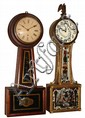 Clocks- 2 (Two) American full-size mahogany 8 day banjo timepieces: one gold-front weight-driven, c.1880, with modern movement; and a rare early Brewster and Ingraham spring-wound with black/gold glasses c1850.