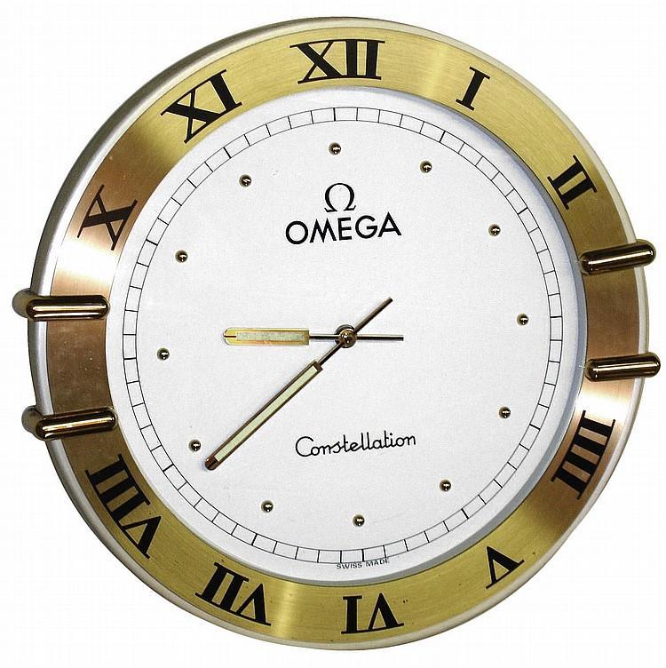 omega constellation modern quartz advertising wall clock la
