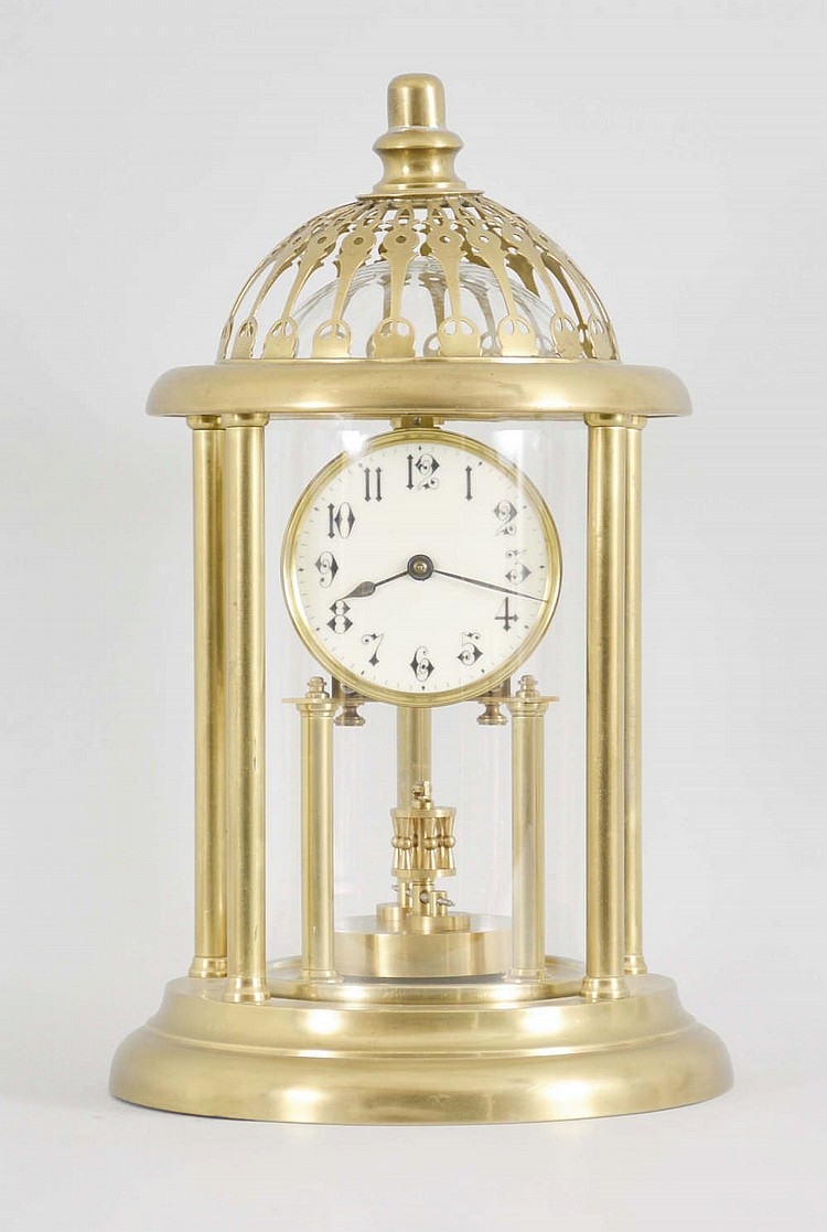 Unusual Louvre-style 400 day clock with dome inside the colu