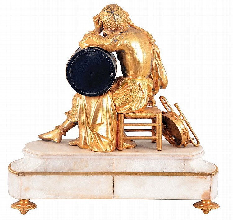 Musical themed french figural clock with seated lady playing for Music themed furniture