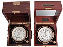 Chronometers- 2 (Two), both Elgin 600, one with three tier box, the other with two tier box, movements incomplete