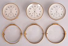 Lot of three Elgin 600 chronometer movements, for parts or restoration, with bowls and gimbals