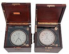 Chronometers- 2 (Two), both Elgin 600, both with three tier boxes, movements incomplete
