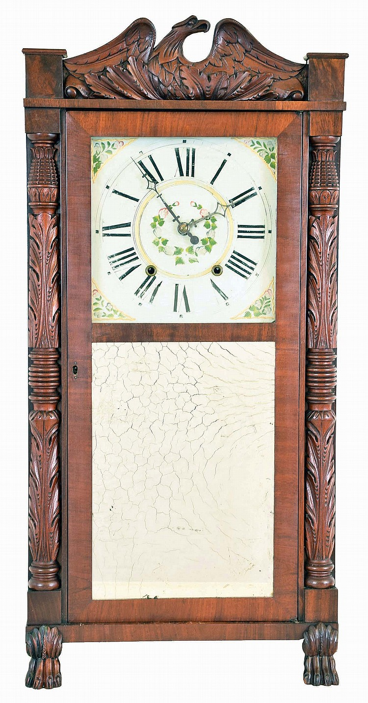Seymour, Hall & Co., Unionville, Conn., 30 hour, time and strike weight wood movement carved column & splat shelf clock.
