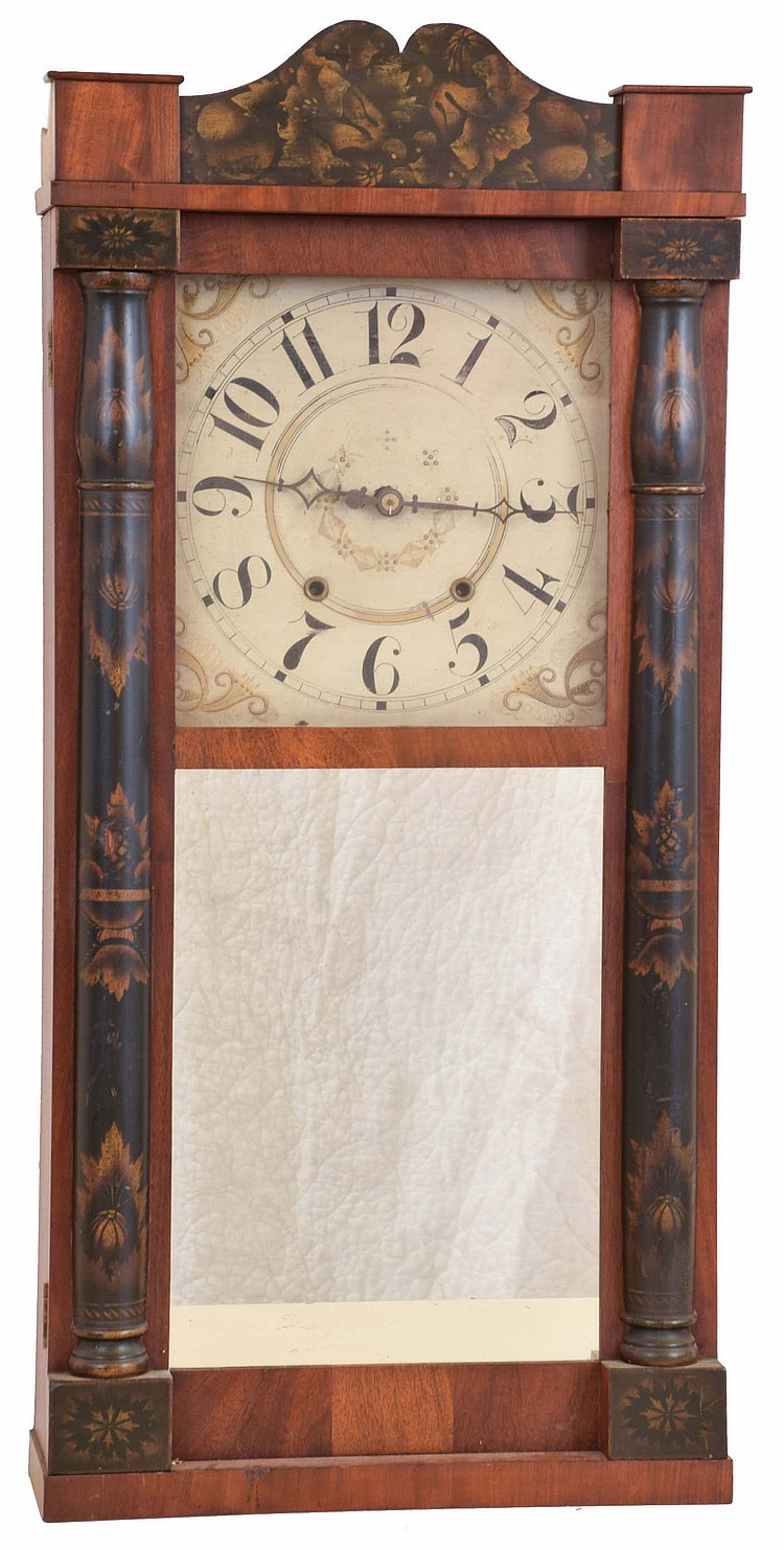 Seth Thomas Clock Co., Plymouth Hollow, Conn., 30 hour, time and strike weight wood movement half column & splat shelf clock.