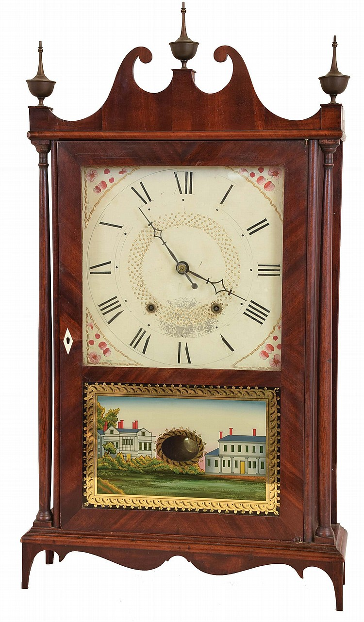 Seth Thomas Clock Co., Plymouth Hollow, Conn., 30 hour, time and strike weight wood movement pillar & scroll shelf clock.