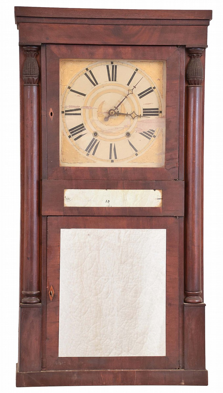 Jeromes & Darrow, Bristol, Conn., 8 day, time and strike weight wood movement half column shelf clock.