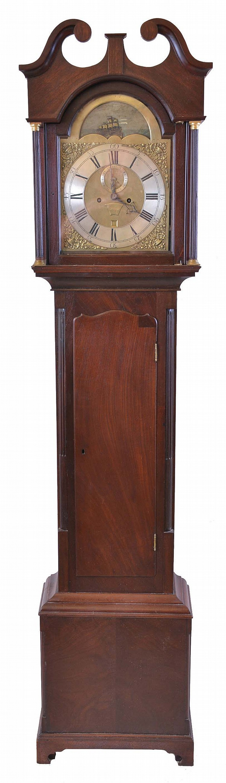 England, tall clock movement, 8 day, time and strike, weight driven movement, c. 1775 in an English or Scottish mahogany case with broken arch top, with reeded columns flanking hood and reeded corner columns flanking trunk door, c. 1800. The brass