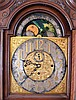 J.J. Elliot, London, England, tall clock, 8 days, time, strike and chiming on gongs, three brass weight driven movement signed Elliot in an oak case with broken arch on hood flanked by full columns, carved rosettes, glazed trunk door, reeded quarter