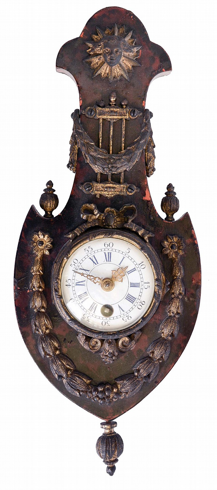 France, miniature hanging clock, faux tortoise shell veneered barometer style case with gilt, neoclassical ornament, and gilt clock case, Roman numeral enamel dial, 8 day timepiece movement with cylinder platform