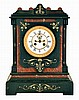 French large black marble 8 day time and strike mantel clock, visible escapement