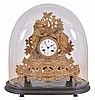 French, 8 day time and strike spring brass movement figural clock under a dome.