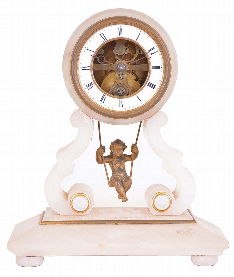 French, 8 day, spring brass movement alabaster case swinging doll pendulum mantel timepiece. Movement is marked Chapement Brevet #58849
