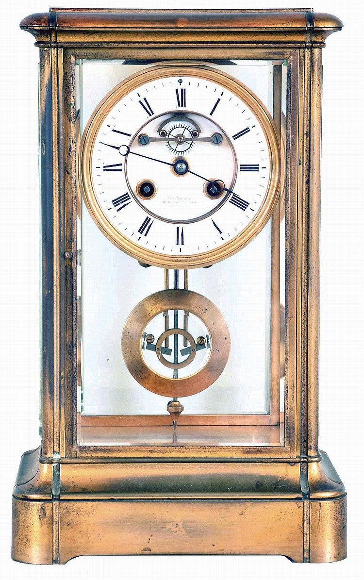 French, 8 day, time and strike spring brass movement crystal regulator with compensating pendulum. Dial is signed