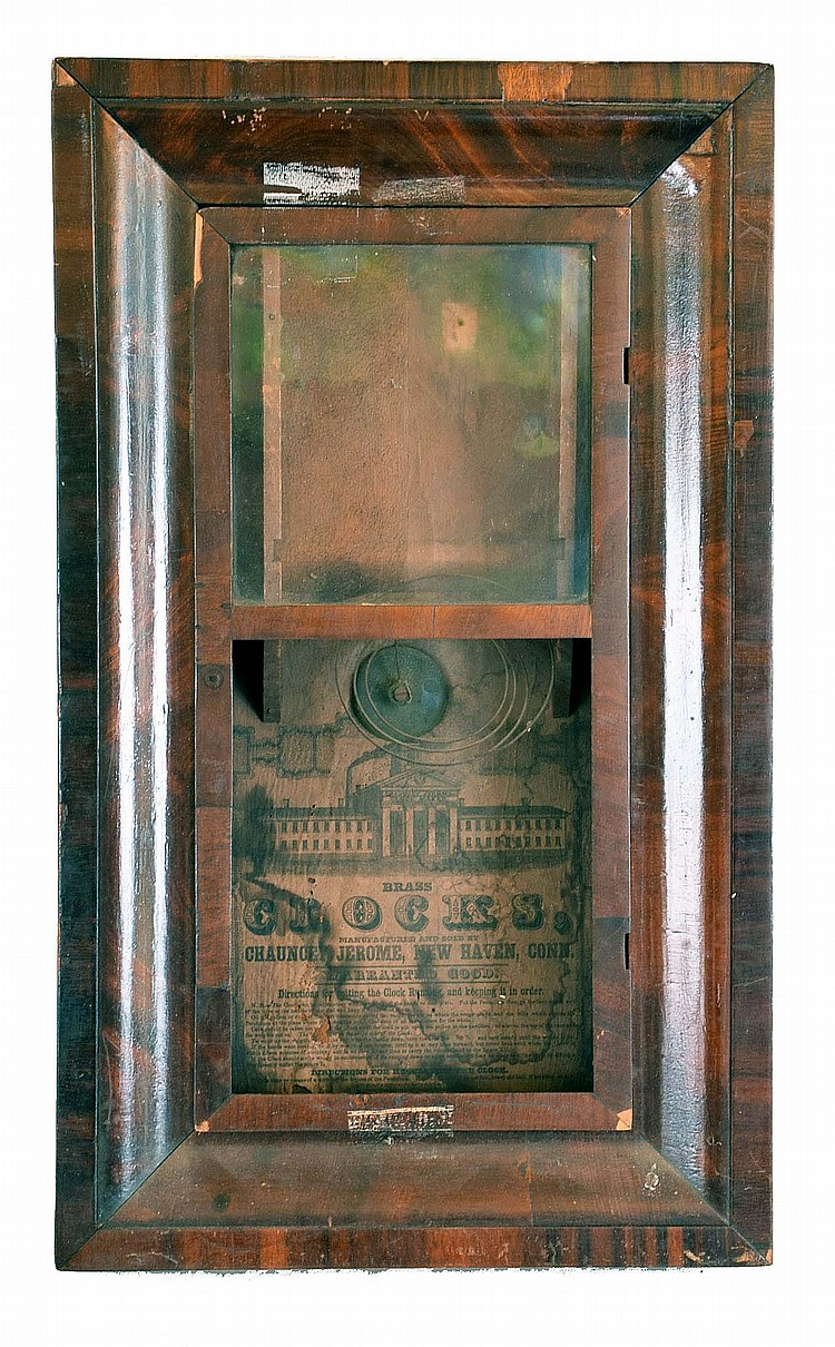 Clocks- 6 (Six): (1) Chauncey Jerome, New Haven, Conn. OG case only, c. 1850. (2) Gilbert pillar & scroll, case only, c. 1915. (3) Chauncey Jerome, Bristol, Conn, OG case only, c. 1840; (4) Unmarked half column and splat transition clock with a