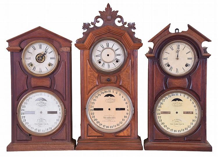Clocks- 3 (Three): (1) Ithaca Calendar Clock Co., Ithaca, New York,