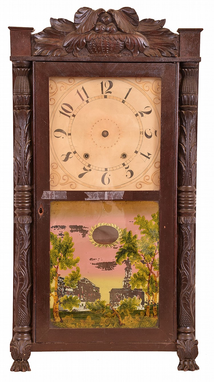 Clocks- 3 (Three): (1) Seth Thomas Clock Co., Plymouth Hollow, Conn., 30 hour, time and strike weight wood movement shelf clock. (2) Jared Arnold, Jr, Amber, New York, 8 day, time and strike weight brass movement triple decker shelf clock. (3) Eli
