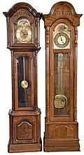 Tall Clocks- 5 (Five) modern: (1) Smith's spring driven, chiming grandmother clock with dedication plaque, c1957; (2) Ridgeway three train chiming weight driven; (3) Howard Miller three train chiming weight driven; (4) Mission oak time and strike