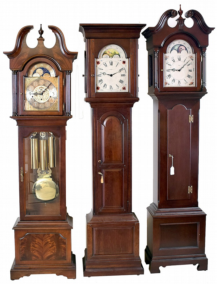 Tall Clocks- 3 (Three) Modern by Howard Miller and Sligh: (1) Sligh, broken arch top, three weight; (2) Howard Miller Shaker style, model #610- 627, two weight; (3) Sligh,