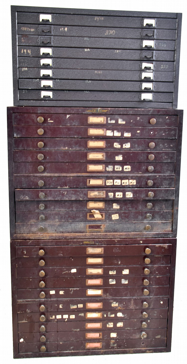 Watch crystals, pocket and wrist sizes, 4 old cabinets (2 wood and 2 metal) with 21 organized drawers of new / old individually labeled stock