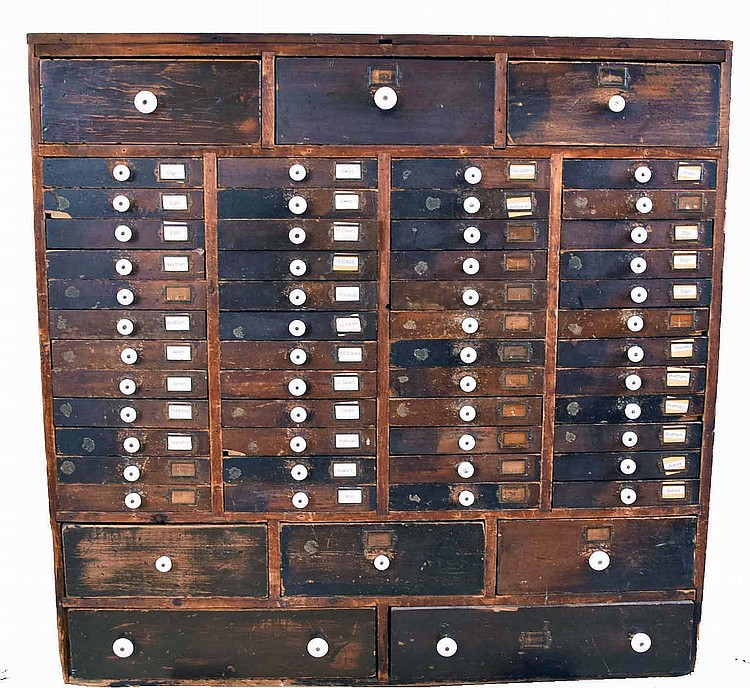 Watch movements, hundreds of pocket and wrist, in large old 56- drawer wood cabinet