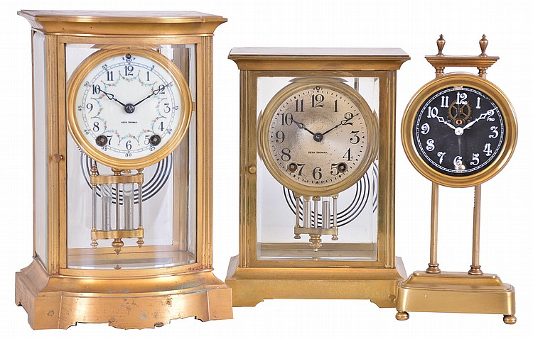 Clocks- 3 (Three): (1) English, 30 hour, weight brass movement gravity timepiece, c1925 (2) Seth Thomas Clock Co., Thomaston, Conn.,