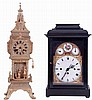 Clocks- 2 (Two): The first an Austrian 3 train bracket clock, probably 2 day, in ebonized wooden case, composite, engraved brass and enamel dial, engraved brass quarter striking movement with verge escapement, c1800, and a French architectural mantel