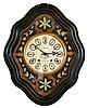 Clocks- 3 (Three) 8 day time and strike wall clocks: Swedish Westerstrand gilt wood cartel; French Morbier ebonized wood bakery clock with iron frame movement, painted metal dial with applied cartouche numbers, mother- of- pearl inlay; Anglo American