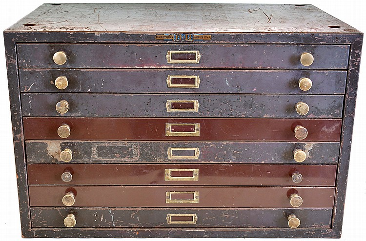 Eight drawer cabinet with pocket watch mainsprings ,micrometer, wooden watch boxes, a pocket barometer, spectacles, platform escapement parts, Swiss army knife, lighter repair kit, miscellaneous tools and watch material