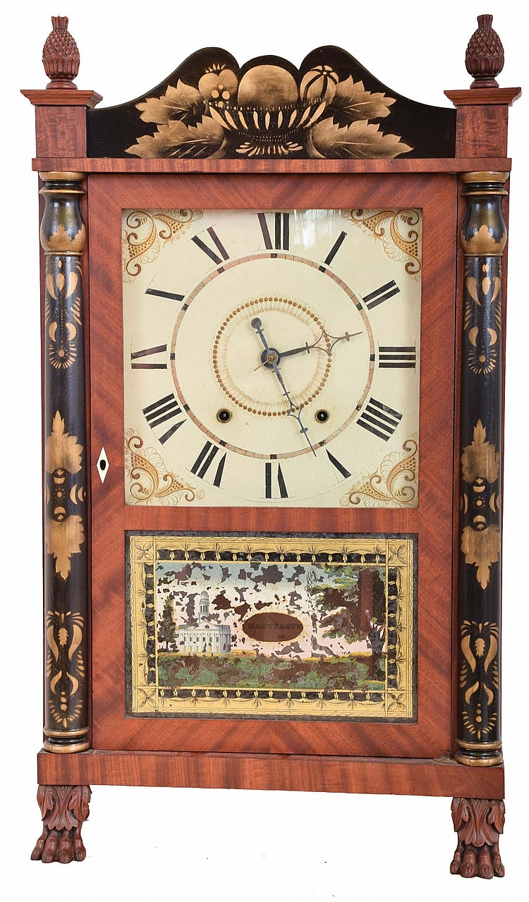 Charles Kirk for George Mitchell, Bristol, Conn., 30 hour, time and strike weight wood movement half column & splat shelf clock with carved paw feet and pineapple finials.