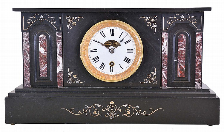 Boston Clock Co., Boston, Mass., 8 day, spring brass lever movement marble mantel clock.