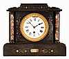 Boston Clock Co., Boston, Mass., 8 day, time and strike tandem wind spring brass lever movement marble mantel clock.