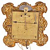 Austria, a small thirty hour wall clock, brass repousse front with silvered Roman numeral dial, blued steel hands, weight driven, rack striking brass movement with pull repeat and square plates, with hook and spikes for hanging