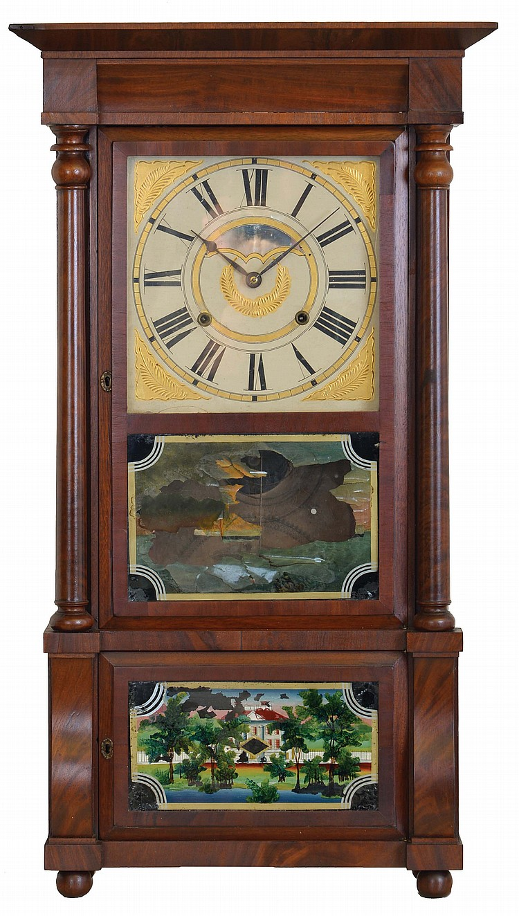 Birge, Mallory & Co., Bristol, Conn., 8 day, time and strike weight brass movement column & cornice shelf clock.