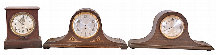 Clocks- 7 (Seven): including 6 tambour style and one mantel alarm clocks; New Haven, Plymouth Clock Co., and Seth Thomas, c1910