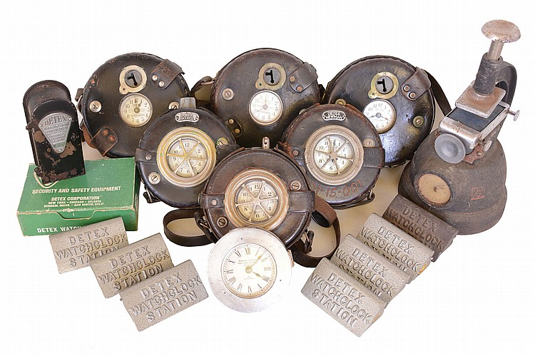 Clocks- 8 (Eight) time recording devices: (1) 7 (Seven) Detex Watchclock Corporation watchman's clocks, six in leather holsters with seven watch station markers and keys; (2) Simplex Time Recorder Co., with punch mechanism