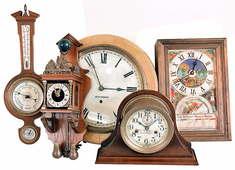 Clocks- 4 (Four) plus barometer / thermometer: Seth Thomas 8 day time only wood gallery clock; Seth Thomas, for Kelvin White, 30 hour brass ship's- bells marine clock on newer mahogany cradle; small modern time and strike German Zaandam two weight