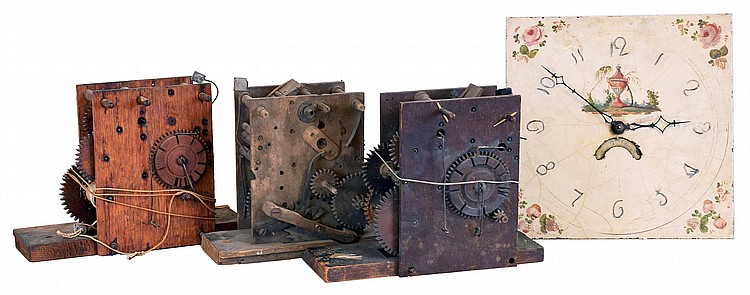 Movements- 4 (Four): Three wood and one English brass movements. (1) Connecticut, 30 hour, time and strike weight wood tall clock movement, c1809 (2) English, 30 hour, time and strike weight brass movement and unsigned dial, c1835 (3) Connecticut, 30