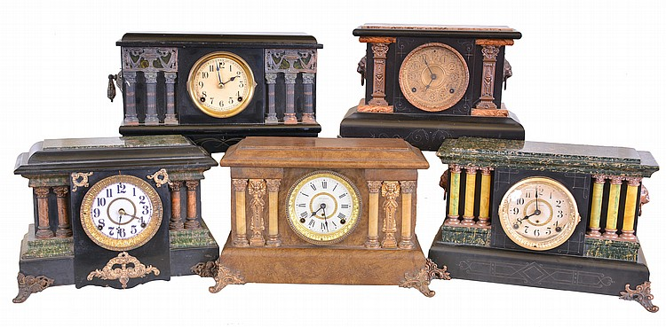 Clocks- 5 (Five): Mixed lot of four Seth Thomas Clock Co., 8 day, time and strike spring brass movement mantel clocks in Adamantine cases and one Sessions Clock Co., 8 day, time and strike spring brass movement black enameled wood mantel clock, c1910