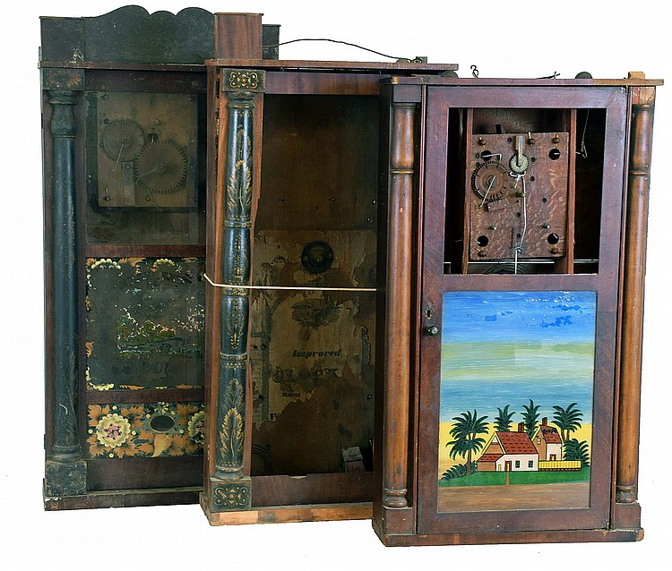 Clocks- 5 (Five): (1) Seth Thomas. Plymouth, Conn. Half Column and Splat shelf clock with a 30 hour weight driven time and strike wooden works movement, c1830. (2) Unidentified short Wooden works carved column case only, c1830. (3) Silas Hoadley,
