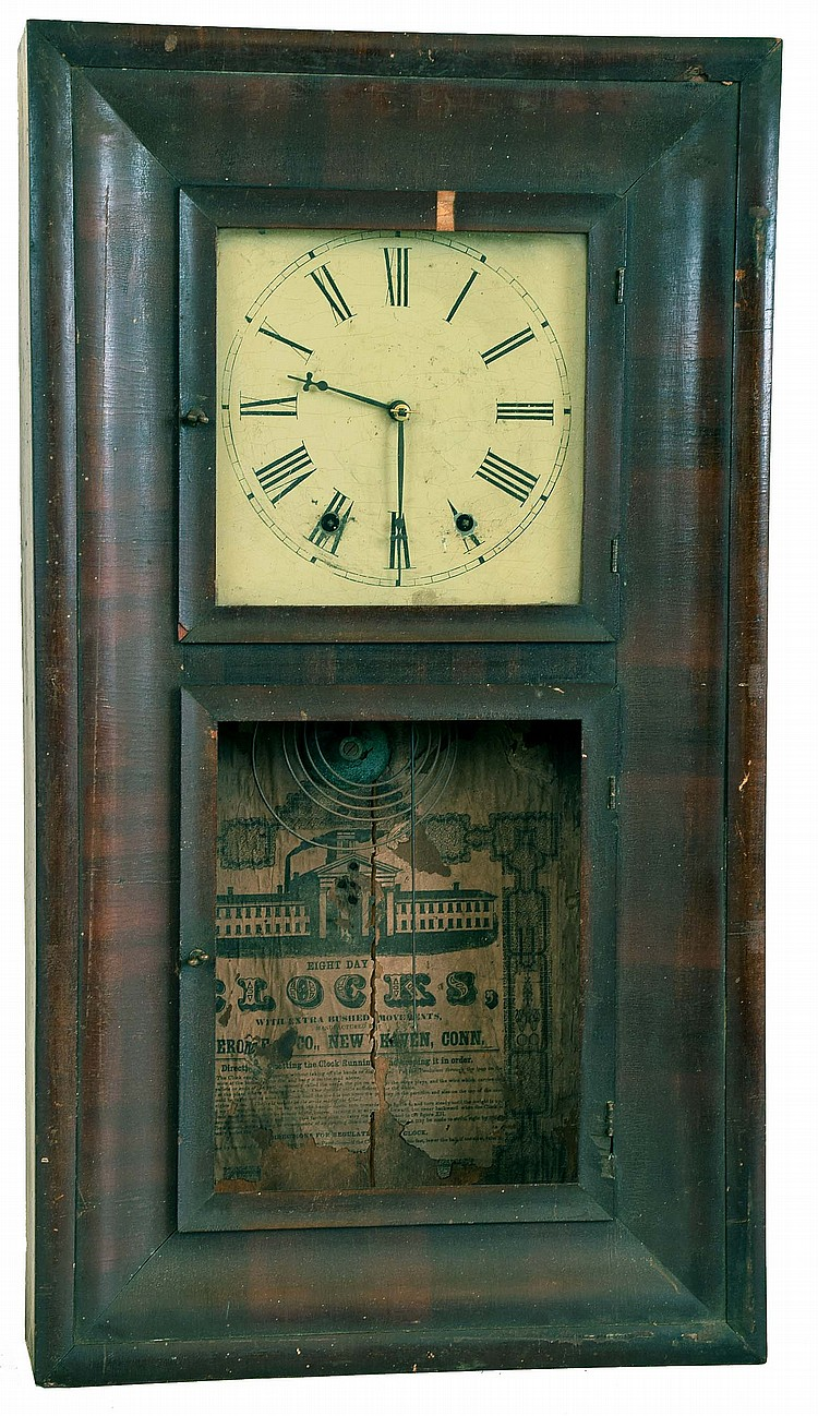 Clocks- 5 (Five): (1) Waterbury Clock Co., Waterbury, Conn., 30 hour, time and strike weight brass movement OG shelf clock, c1870 (2) Chauncey Jerome, Bristol, Conn., 30 hour, time and strike weight brass movement OG shelf clock, c1845 (3) Unsigned