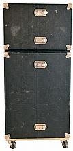 Collection of watch and jewelry cases and display cases with locks and keys, including one rolling suitcase with two sections measuring about 40